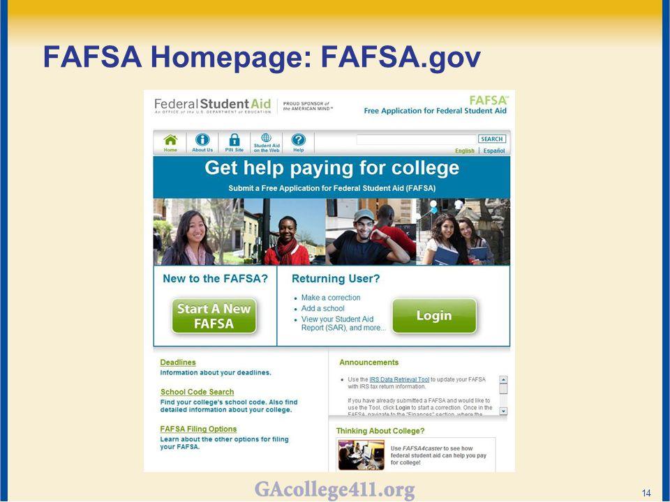 FAFSA Homepage: FAFSA.gov 14