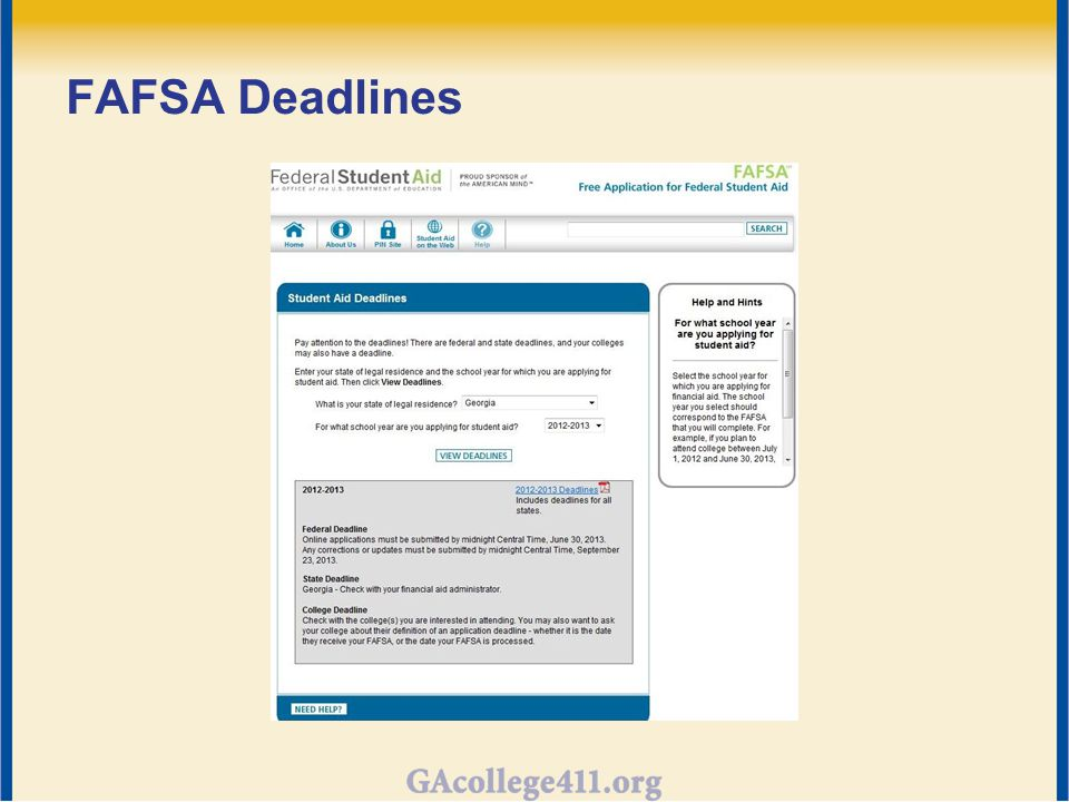 FAFSA Deadlines