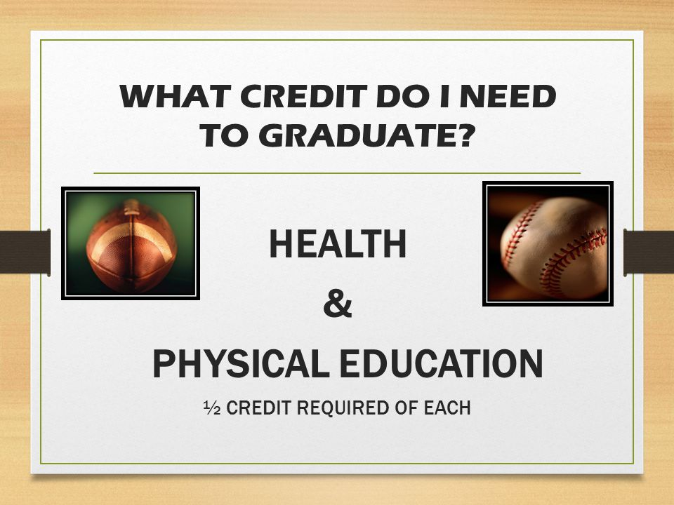 WHAT CREDIT DO I NEED TO GRADUATE HEALTH & PHYSICAL EDUCATION ½ CREDIT REQUIRED OF EACH
