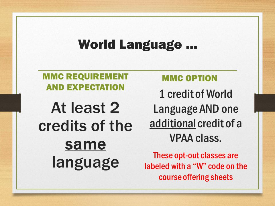 World Language … MMC REQUIREMENT AND EXPECTATION At least 2 credits of the same language MMC OPTION 1 credit of World Language AND one additional credit of a VPAA class.