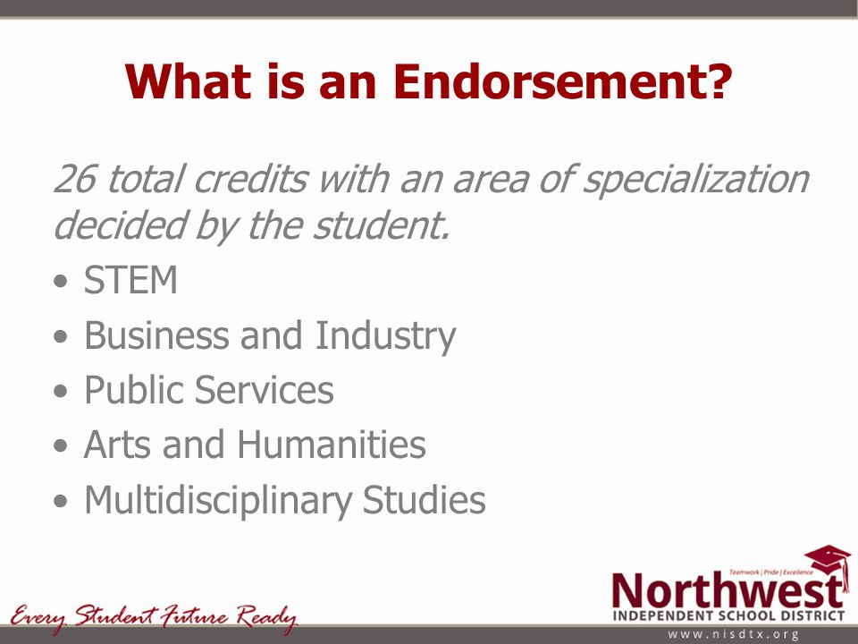 What is an Endorsement? 26 total credits with an area of specialization decided by the student. STEM Business and Industry Public Services Arts and Hu