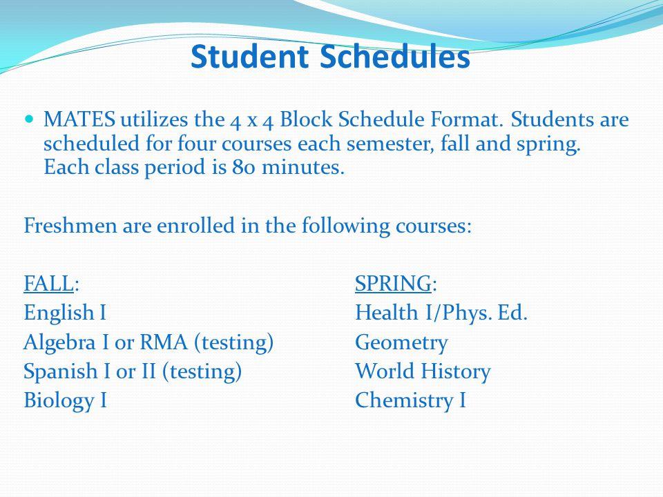 Student Schedules MATES utilizes the 4 x 4 Block Schedule Format.