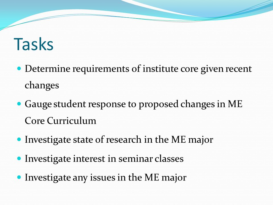 Tasks Determine requirements of institute core given recent changes Gauge student response to proposed changes in ME Core Curriculum Investigate state of research in the ME major Investigate interest in seminar classes Investigate any issues in the ME major