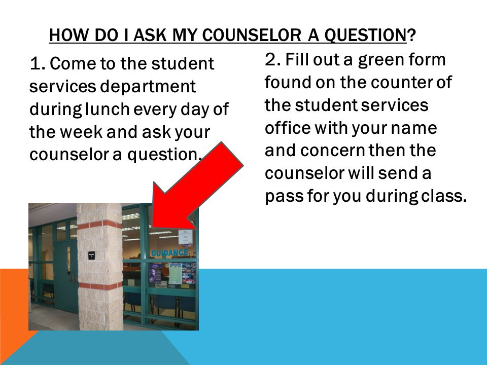 HOW DO I ASK MY COUNSELOR A QUESTION.1.