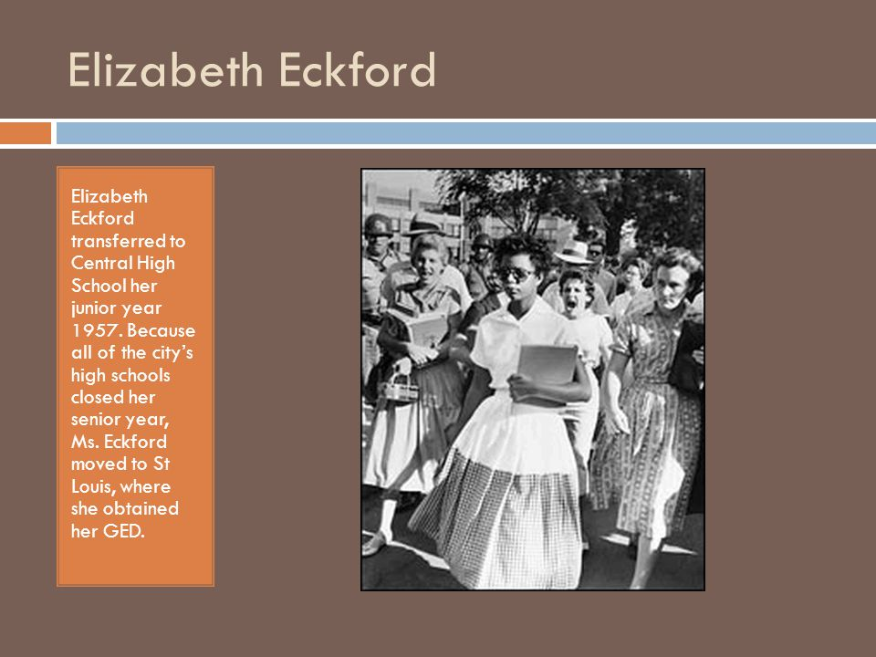 Elizabeth and Hazel Elizabeth and Hazel chronicles not just the day Elizabeth attempts to enter Central High School, but the months and years that came after in the two women s lives.