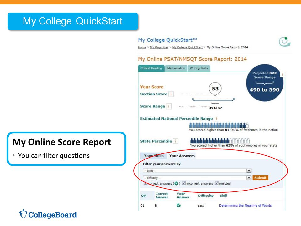 My College QuickStart My Online Score Report You can filter questions