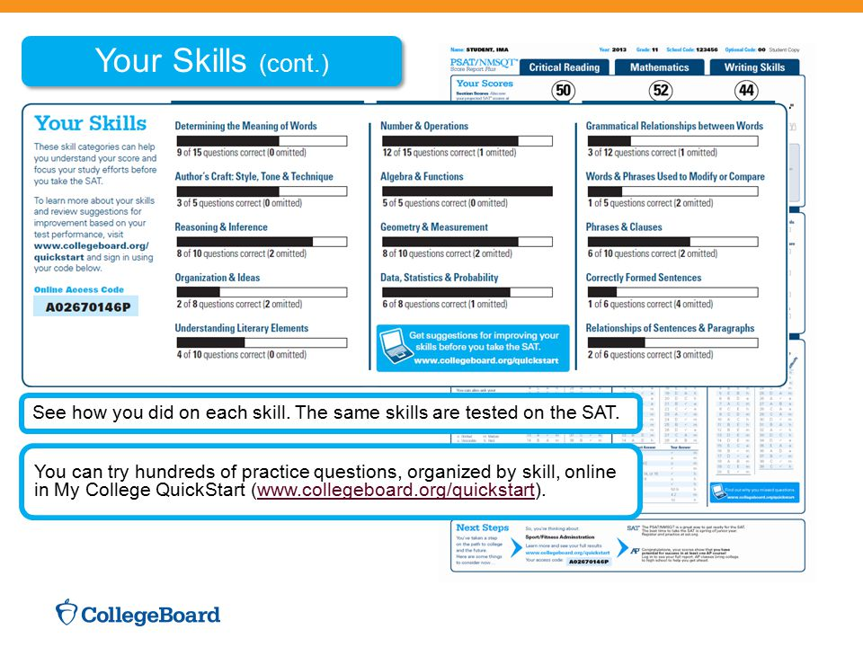 Your Skills (cont.) See how you did on each skill. The same skills are tested on the SAT. You can try hundreds of practice questions, organized by ski