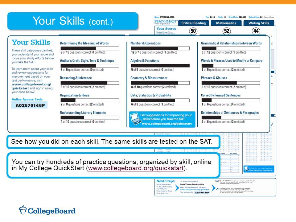 My College QuickStart My Online Score Report State percentiles