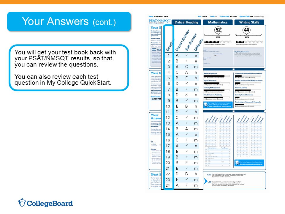 Your Answers (cont.) You will get your test book back with your PSAT/NMSQT results, so that you can review the questions. You can also review each tes