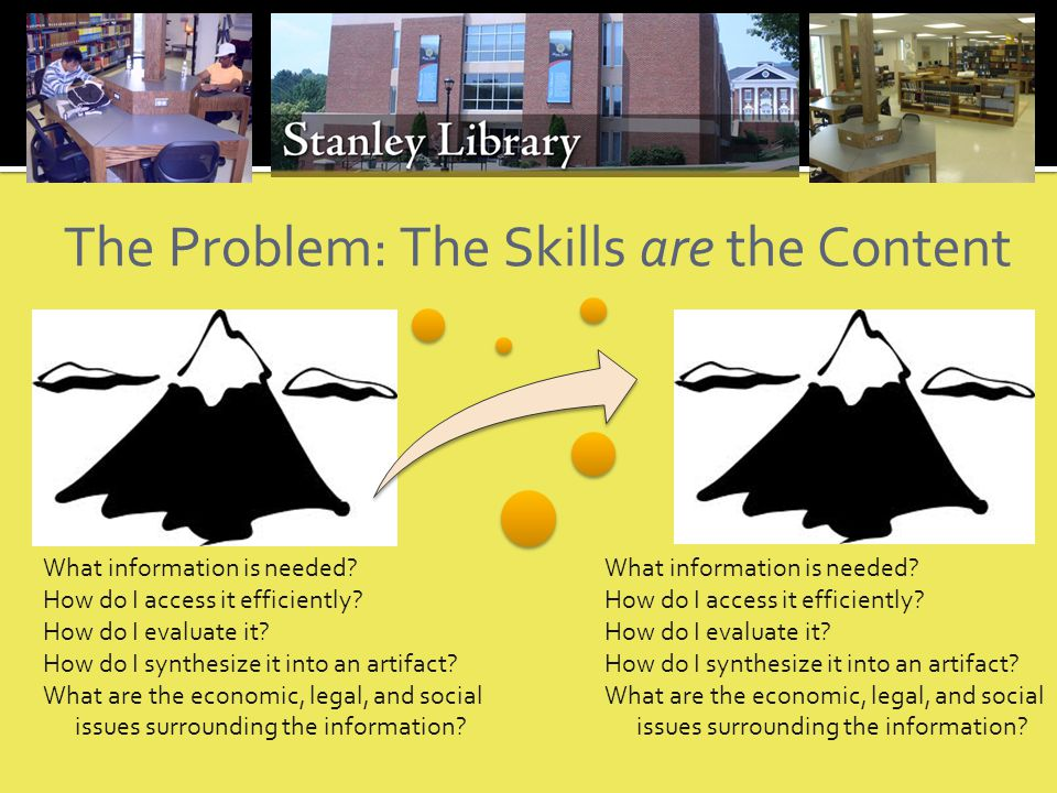 The Problem: The Skills are the Content What information is needed.