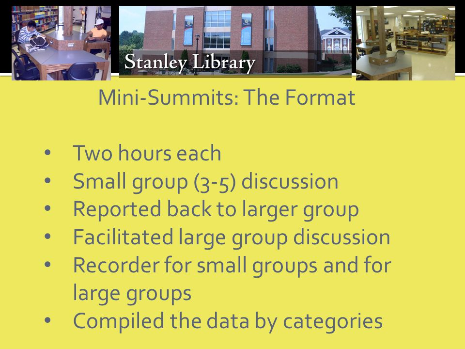 Mini-Summits: The Format Two hours each Small group (3-5) discussion Reported back to larger group Facilitated large group discussion Recorder for small groups and for large groups Compiled the data by categories