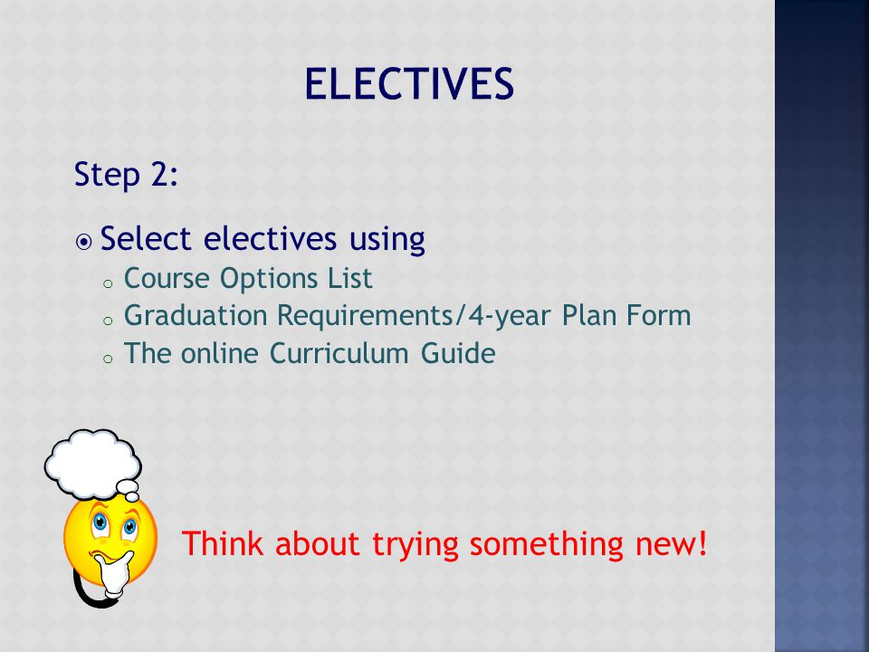 Step 2:  Select electives using o Course Options List o Graduation Requirements/4-year Plan Form o The online Curriculum Guide Think about trying som