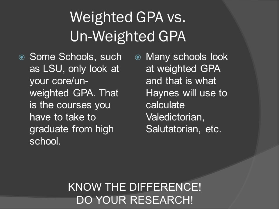 Weighted GPA vs.