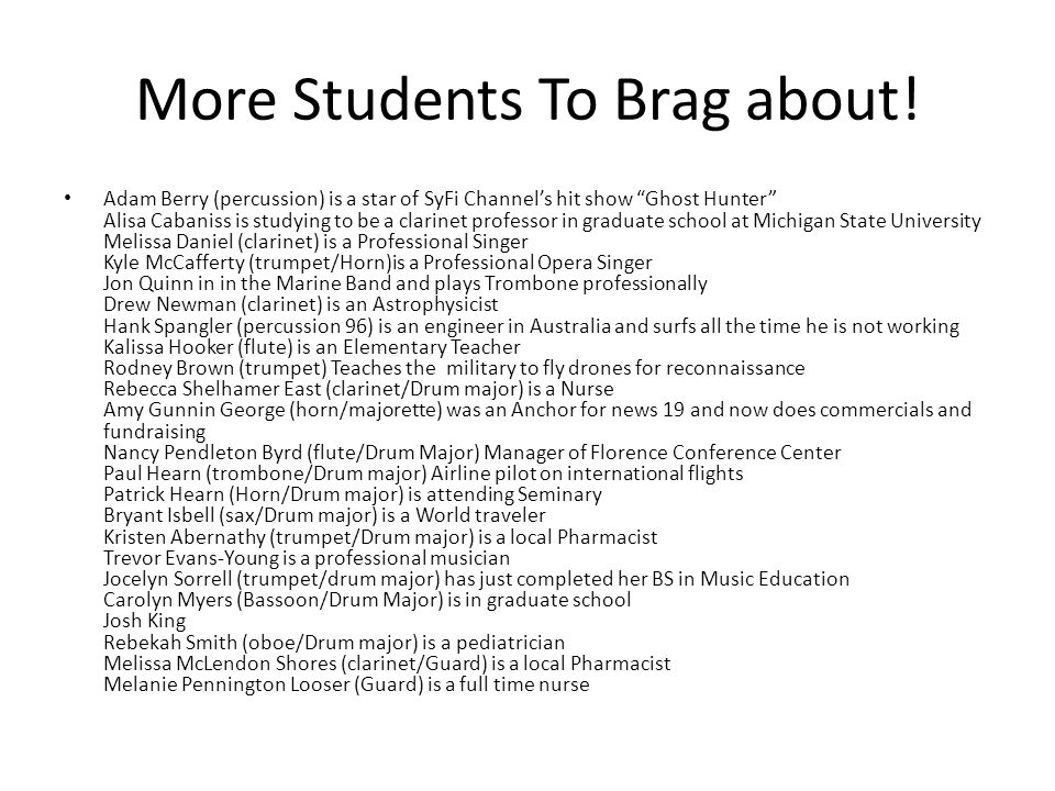 More Students To Brag about.