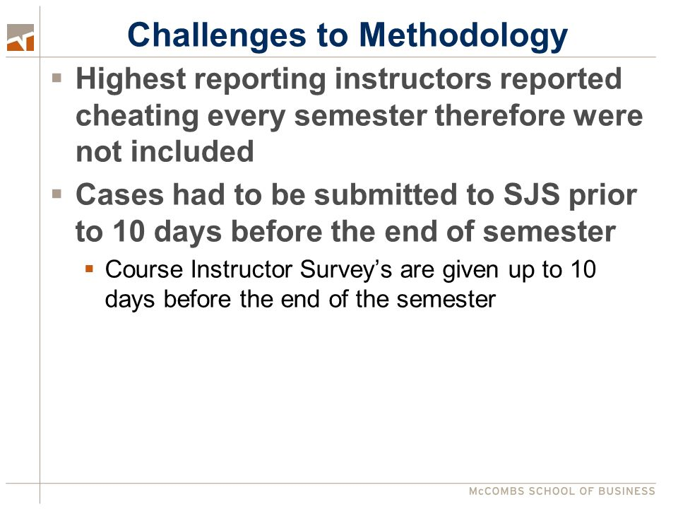 Challenges to Methodology  Highest reporting instructors reported cheating every semester therefore were not included  Cases had to be submitted to SJS prior to 10 days before the end of semester  Course Instructor Survey's are given up to 10 days before the end of the semester
