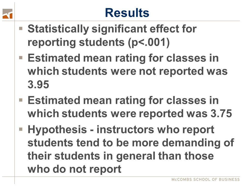 Results  Statistically significant effect for reporting students (p<.001)  Estimated mean rating for classes in which students were not reported was 3.95  Estimated mean rating for classes in which students were reported was 3.75  Hypothesis - instructors who report students tend to be more demanding of their students in general than those who do not report