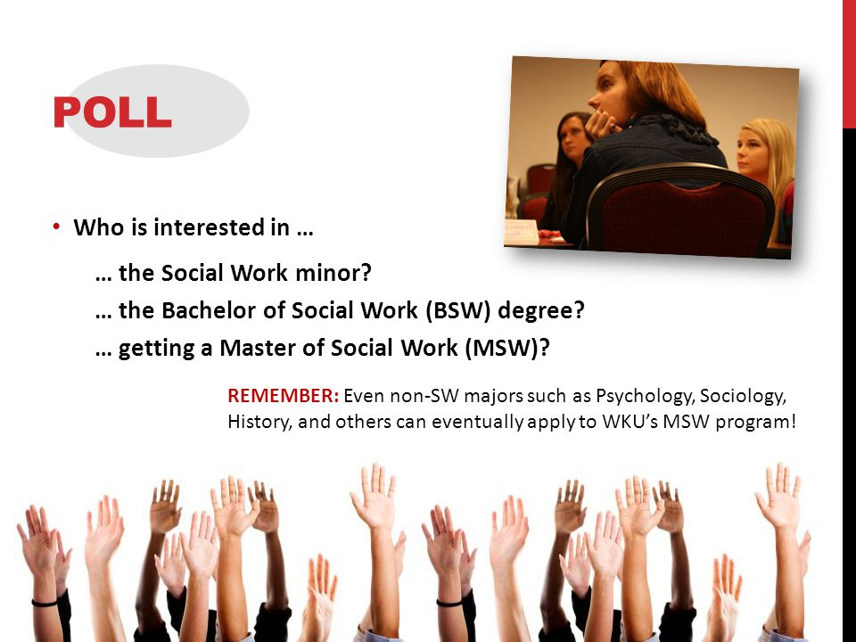 POLL Who is interested in … … the Social Work minor.