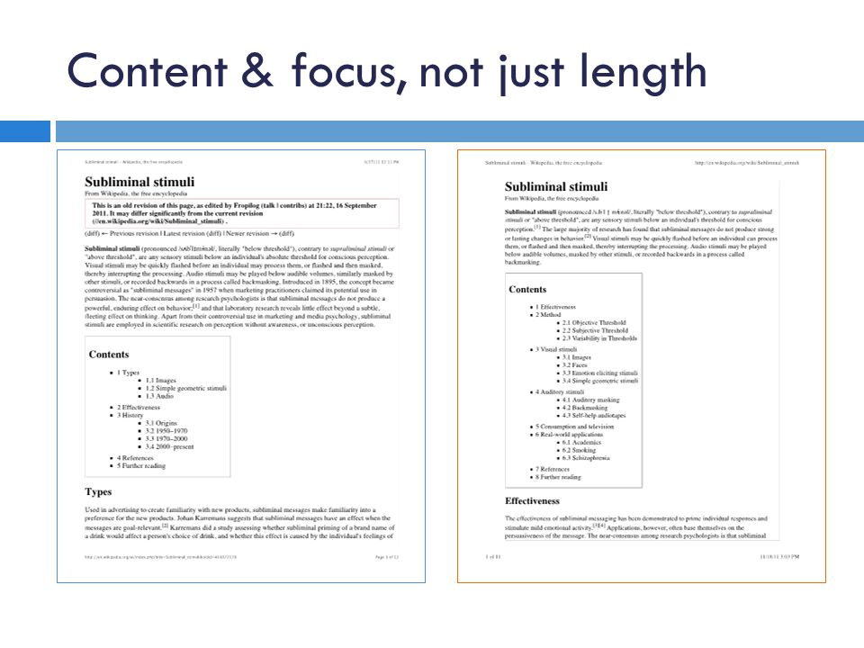 Content & focus, not just length