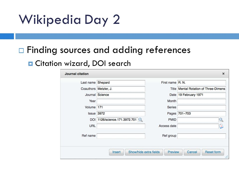 Wikipedia Day 2  Finding sources and adding references  Citation wizard, DOI search