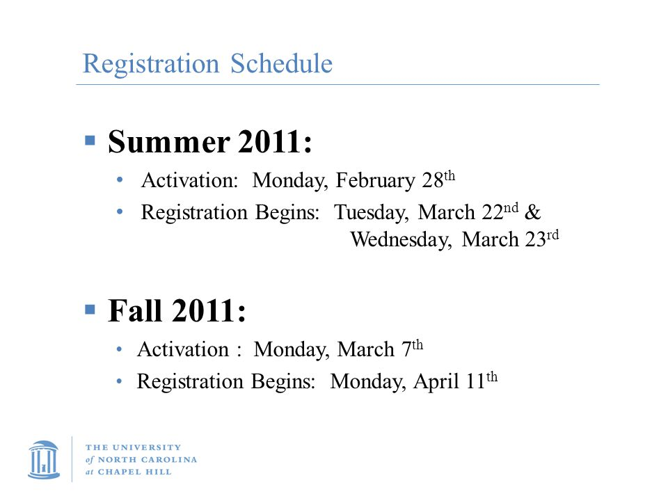 Registration Schedule  Summer 2011: Activation: Monday, February 28 th Registration Begins: Tuesday, March 22 nd & Wednesday, March 23 rd  Fall 2011