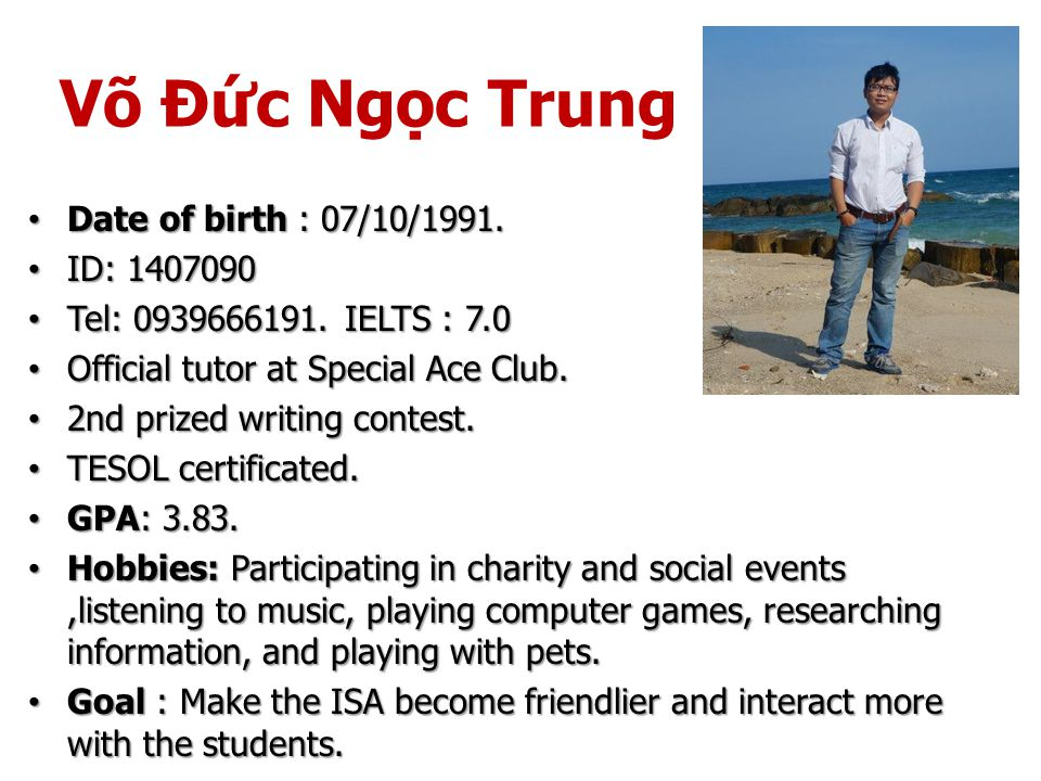 Võ Đức Ngọc Trung Date of birth : 07/10/1991. Date of birth : 07/10/1991.