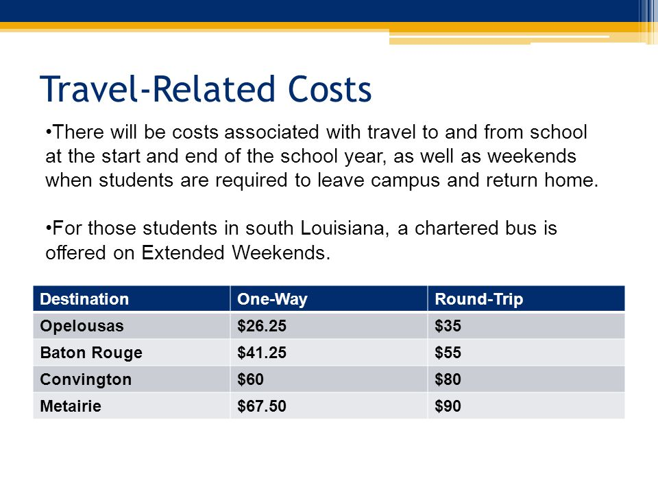 Travel-Related Costs DestinationOne-WayRound-Trip Opelousas$26.25$35 Baton Rouge$41.25$55 Convington$60$80 Metairie$67.50$90 There will be costs associated with travel to and from school at the start and end of the school year, as well as weekends when students are required to leave campus and return home.