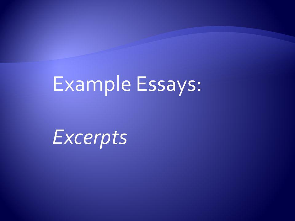 Example Essays: Excerpts