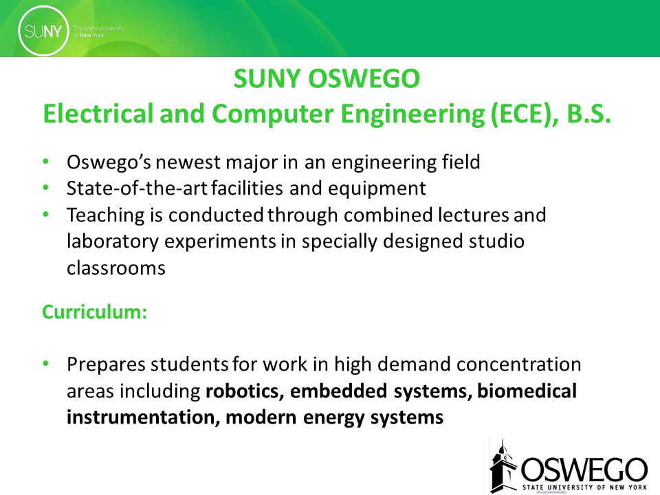 SUNY OSWEGO Electrical and Computer Engineering (ECE), B.S.