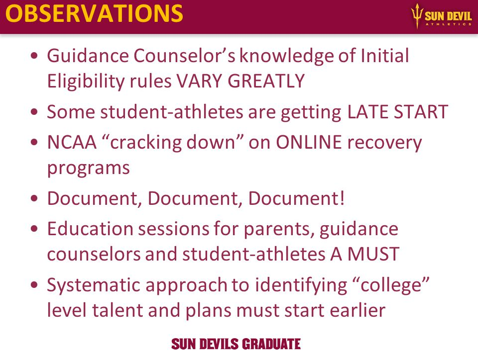 Guidance Counselor's knowledge of Initial Eligibility rules VARY GREATLY Some student-athletes are getting LATE START NCAA cracking down on ONLINE recovery programs Document, Document, Document.