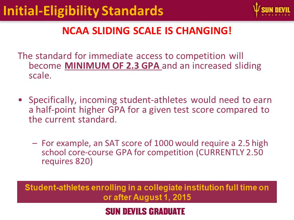 Initial-Eligibility Standards NCAA SLIDING SCALE IS CHANGING.