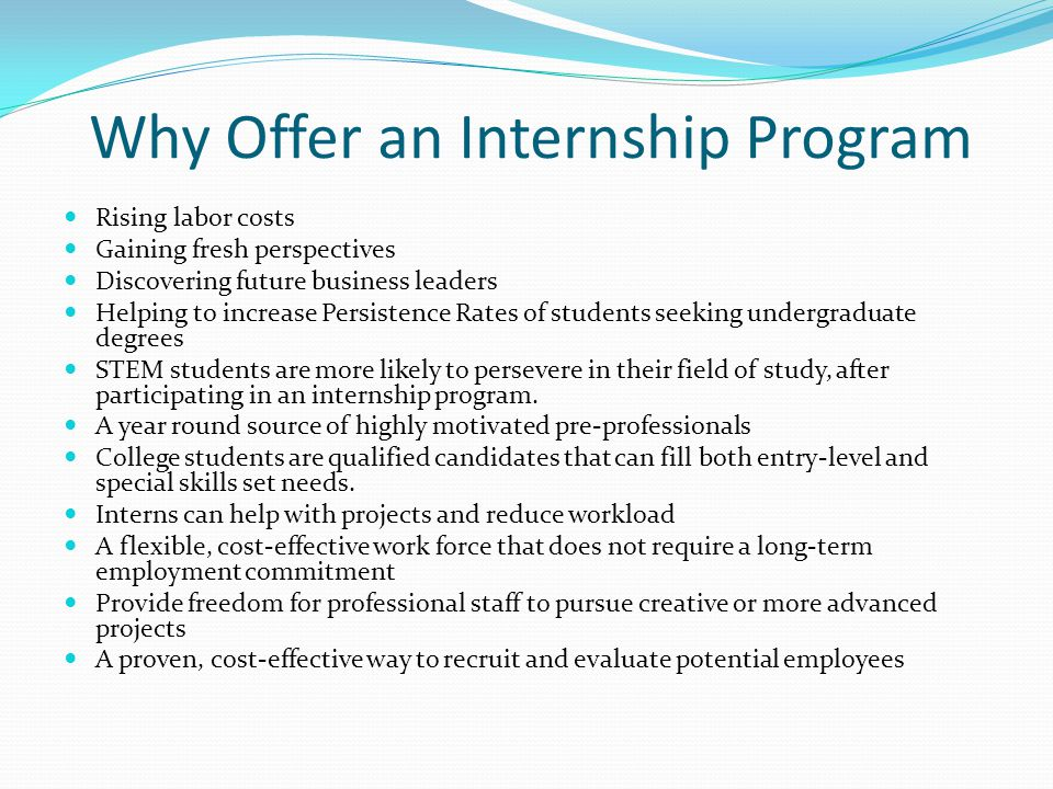 Why Offer an Internship Program Rising labor costs Gaining fresh perspectives Discovering future business leaders Helping to increase Persistence Rates of students seeking undergraduate degrees STEM students are more likely to persevere in their field of study, after participating in an internship program.
