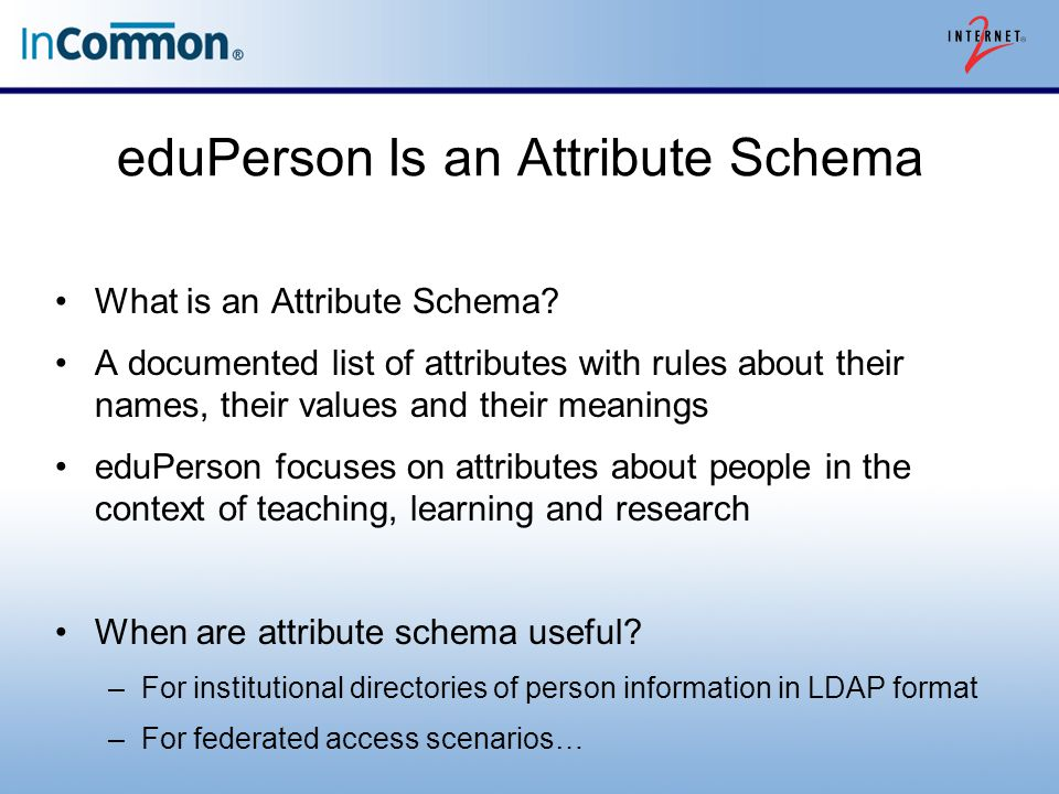 eduPerson Is an Attribute Schema What is an Attribute Schema.