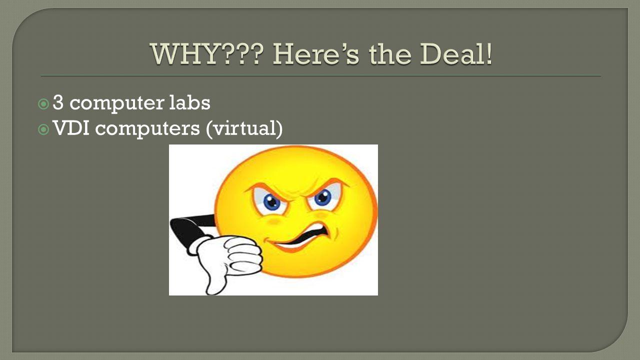  3 computer labs  VDI computers (virtual)