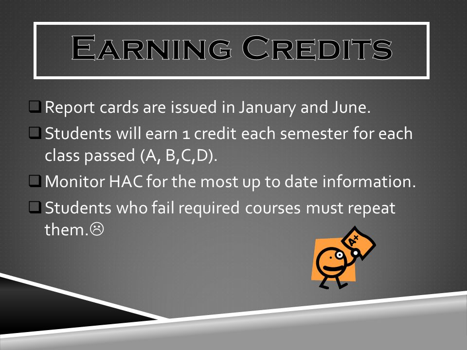  Report cards are issued in January and June.  Students will earn 1 credit each semester for each class passed (A, B,C,D).  Monitor HAC for the mos
