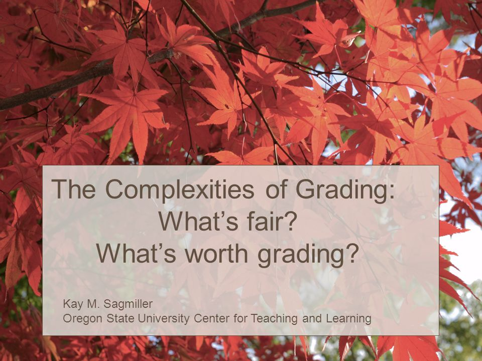 The Complexities of Grading: What's fair. What's worth grading.