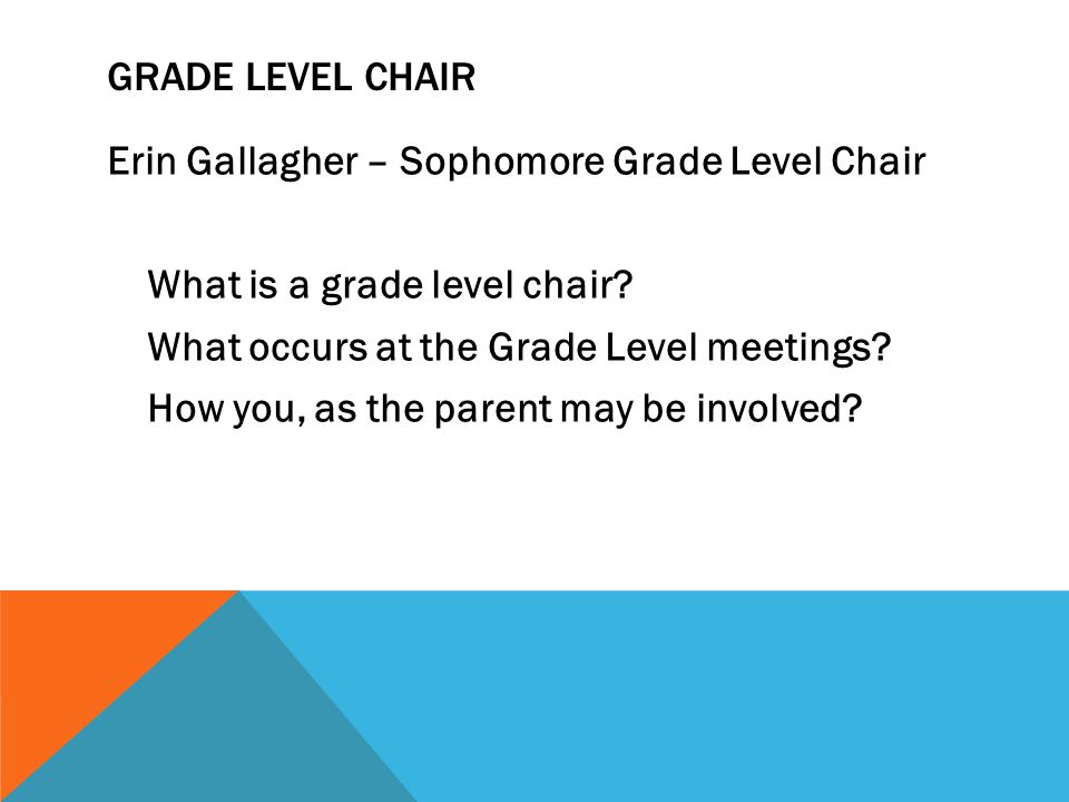 GRADE LEVEL CHAIR Erin Gallagher – Sophomore Grade Level Chair What is a grade level chair.