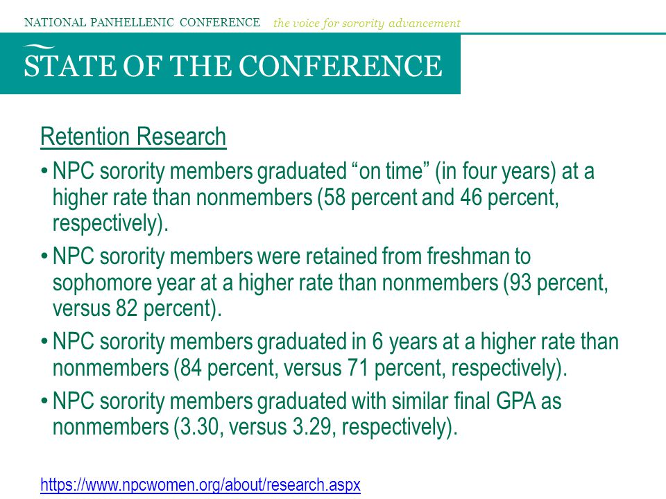 STATE OF THE CONFERENCE NATIONAL PANHELLENIC CONFERENCE the voice for sorority advancement Retention Research NPC sorority members graduated on time (in four years) at a higher rate than nonmembers (58 percent and 46 percent, respectively).