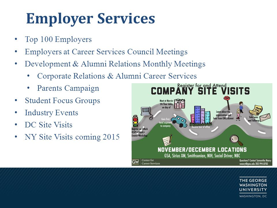 Employer Services Top 100 Employers Employers at Career Services Council Meetings Development & Alumni Relations Monthly Meetings Corporate Relations & Alumni Career Services Parents Campaign Student Focus Groups Industry Events DC Site Visits NY Site Visits coming 2015