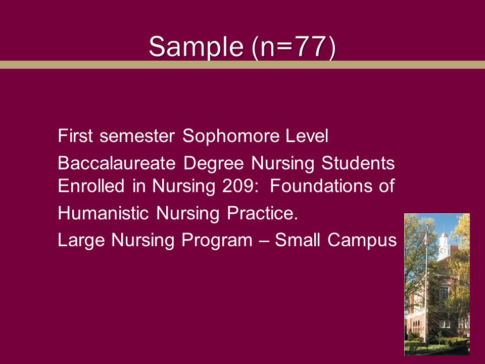 Sample (n=77) First semester Sophomore Level Baccalaureate Degree Nursing Students Enrolled in Nursing 209: Foundations of Humanistic Nursing Practice