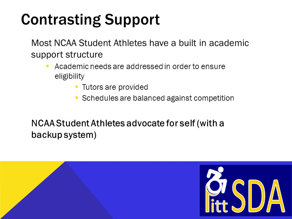 Contrasting Support Most NCAA Student Athletes have a built in academic support structure  Academic needs are addressed in order to ensure eligibility  Tutors are provided  Schedules are balanced against competition NCAA Student Athletes advocate for self (with a backup system)