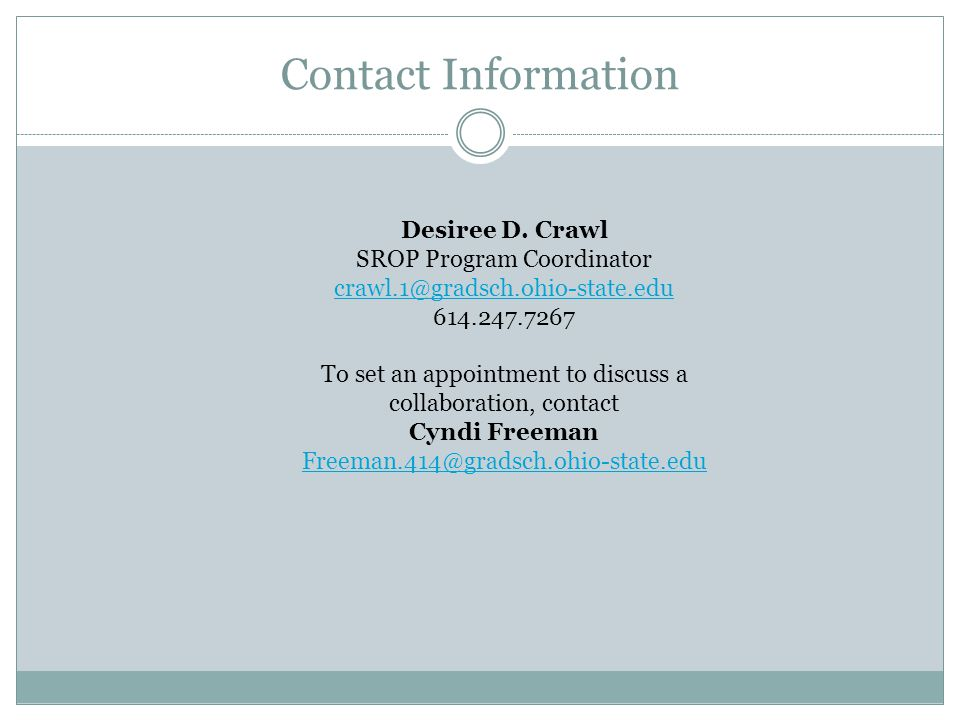 Contact Information Desiree D.