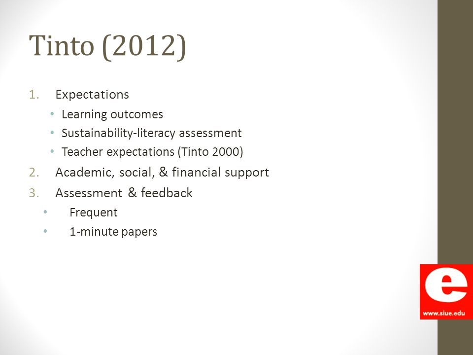 Tinto (2012) 1.Expectations Learning outcomes Sustainability-literacy assessment Teacher expectations (Tinto 2000) 2.Academic, social, & financial sup