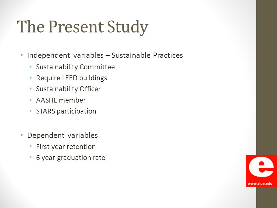 The Present Study Independent variables – Sustainable Practices Sustainability Committee Require LEED buildings Sustainability Officer AASHE member ST