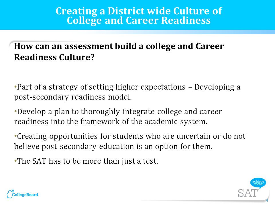 How can an assessment build a college and Career Readiness Culture.