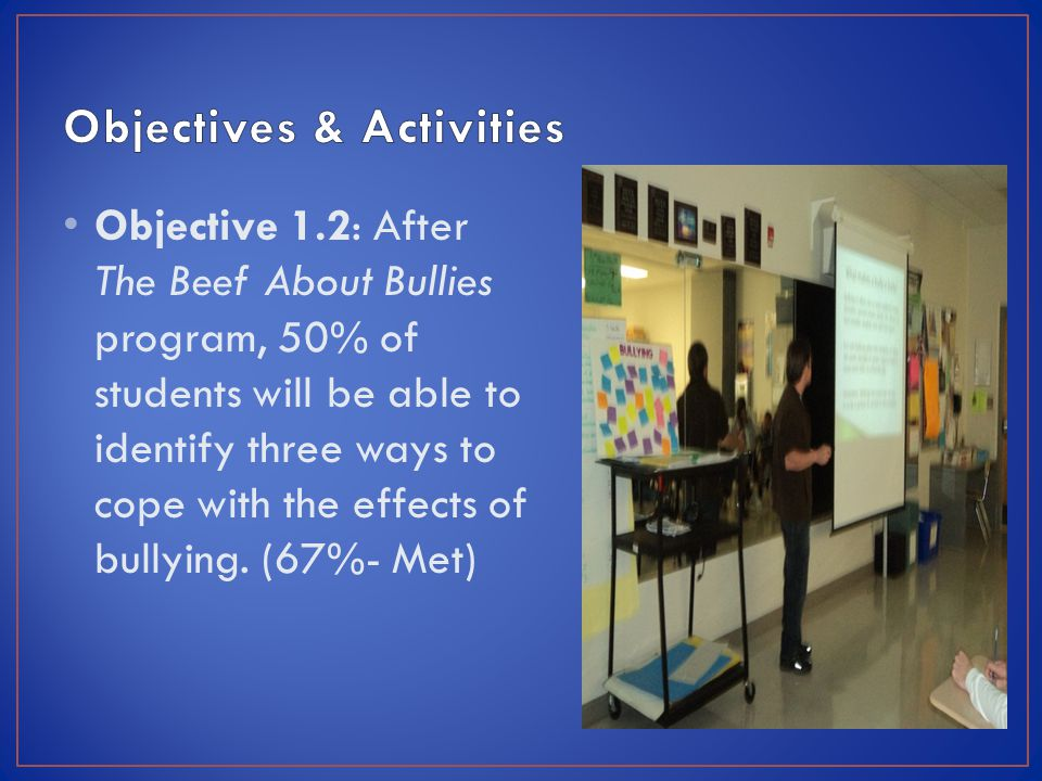 Objective 1.2: After The Beef About Bullies program, 50% of students will be able to identify three ways to cope with the effects of bullying.