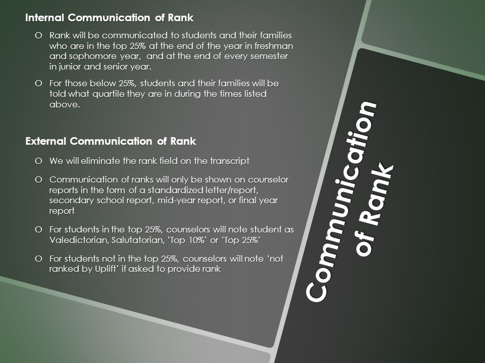 Communication of Rank Internal Communication of Rank o Rank will be communicated to students and their families who are in the top 25% at the end of the year in freshman and sophomore year, and at the end of every semester in junior and senior year.