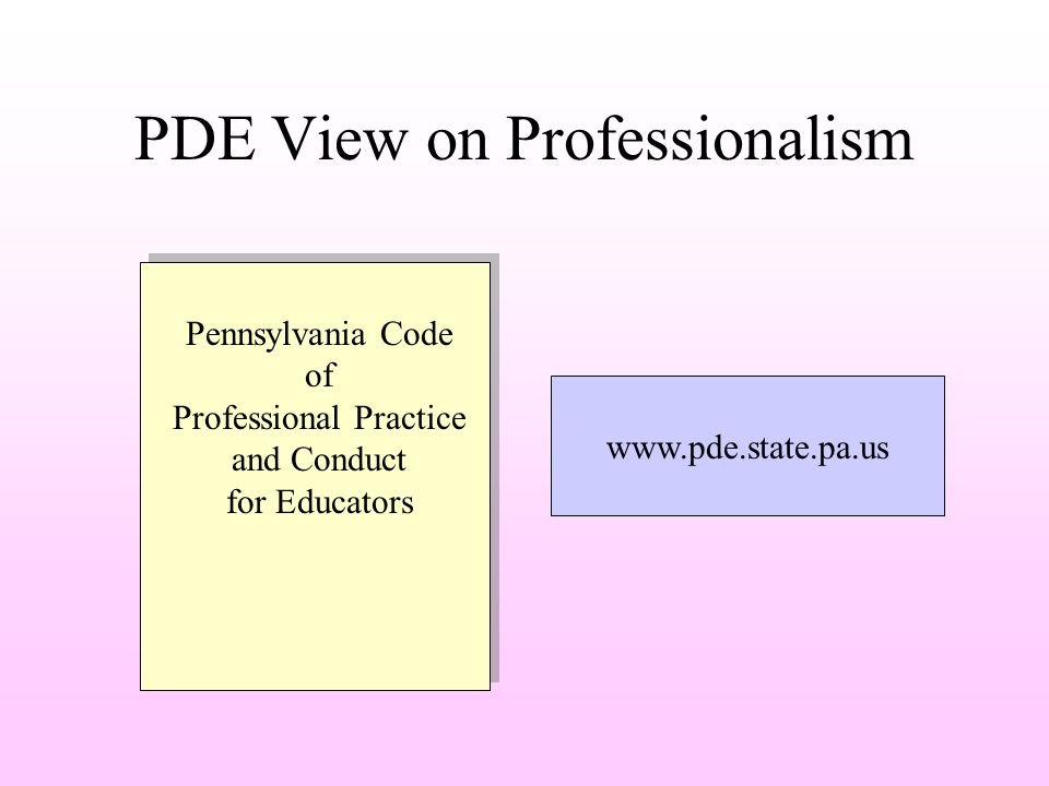PDE View on Professionalism Pennsylvania Code of Professional Practice and Conduct for Educators www.pde.state.pa.us