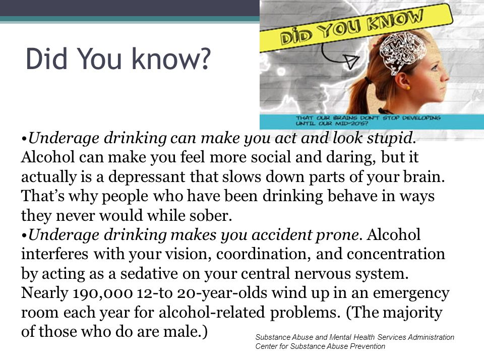 Did You know. Underage drinking can make you act and look stupid.