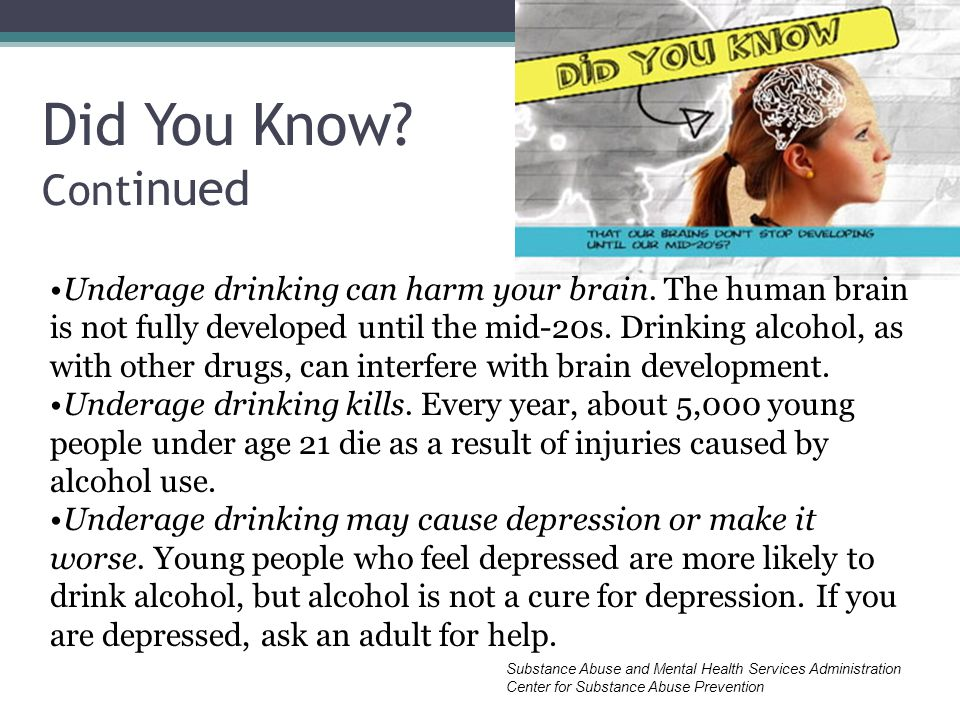 Did You Know. Cont inued Underage drinking can harm your brain.