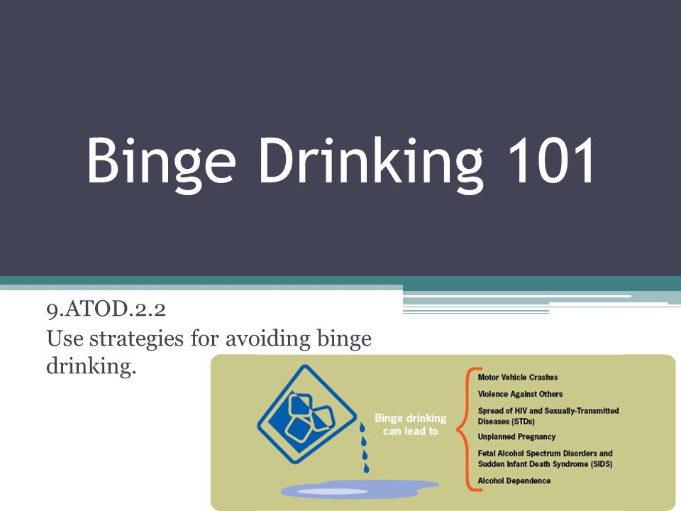 Binge Drinking 101 9.ATOD.2.2 Use strategies for avoiding binge drinking.
